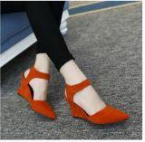 Оптовая торговля скраб велюр с липучкой склона с High-Heeled новые сандалии