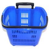 Chariot en plastique à panier à provisions de supermarché de vente d'usine avec des roues