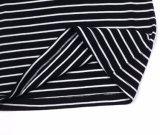 Parte superiore a strisce della maglietta giro collo delle lane merino delle donne