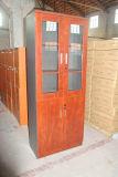 ガラスドアのファイルキャビネットのオフィスの本箱の木のオフィス用家具の棚
