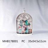 Diseño de la jaula de pájaros reloj Metal acabado en rojo para la decoración del hogar