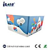 2.8 인치에 의하여 주문을 받아서 만들어지는 LCD 영상 인사말 브로셔 또는 크리스마스 선물