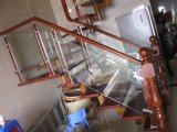 De verscheidenheid kleurt Houten Trap met het PostGlas van het Roestvrij staal
