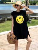 Оптовое черное безрукавный платье тенниски с частями вышивки шаржа