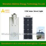 15W LED Solarstraßenlaternemit allen in einem Entwurf