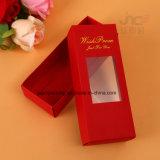 Verschiedener Farben-und Größen-Fertigkeit-Papierkasten mit dem Fenster-Produkt-Verpacken und Zeichenkette gehandhabt (JP-Papier Box140