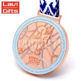 Kundenspezifische Silber-Großverkauf-Russland-Hockey-Kugel-Spiel-Metallandenken-Sport-Preis-Medaille des Gold3d mit Markierungsfahnen-Farben-Farbband