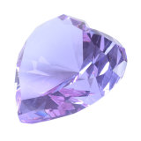 Corazón de cristal pisapapeles con diamantes de la base de LED para la opción
