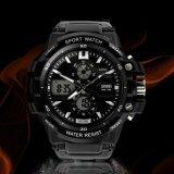 디지털 스포츠 전자 옥외 5ATM는 LED 가벼운 손목 시계를 방수 처리한다