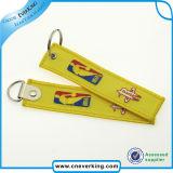 Het promotie Etiket Keychain van het Borduurwerk van Applique van de Bagage van de Polyester