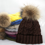 大人のための15cmの毛皮POMの帽子の冬によって編まれる帽子