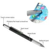 6 in 1 Pen van het Hulpmiddel van het Aluminium Multifunctionele met de Pen van het Niveau en van de Schroevedraaier