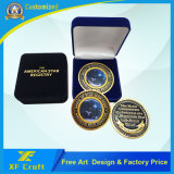 記念品(XF-CO34-A)のための安いカスタマイズされた真鍮の金属の柔らかいエナメルの金によってめっきされる硬貨