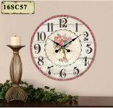 Decoração Vintage Mobiliário elegante design floral adesivo de papel de impressão de madeira MDF relógio de parede