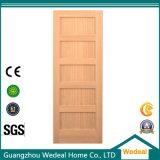 Porte en bois de brame intérieure de peuplier de panneau du classique 5 pour le projet