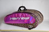 Leopardo de cuero de impresión de raqueta de tenis raqueta mochila bolsas para 6 raqueta