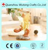 La resina de hadas bonita decorativa del diseño del escritorio hace el sostenedor de vela a mano ligero del té