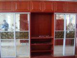Het Stevige Houten Frame van de esdoorn met de Glijdende Garderobes van het Glas
