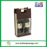 Sacchetto di acquisto non tessuto dell'elemento portante della bottiglia di vino due