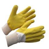 Het katoen bedekte de Gele Handschoenen van het Werk van het Latex Op zwaar werk berekende met een laag