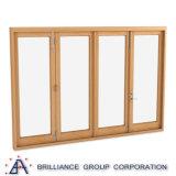 [بي] يطوي نافذة في الألومنيوم قطاع جانبيّ مع لون خشبيّة