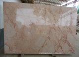 Dalles de marbre beige avec grande fleur pour carrelage / comptoirs / marches d'escalier
