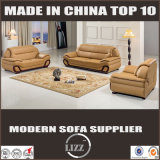 純木アームを搭載するLizzの家具のブラウンカラー革ソファー