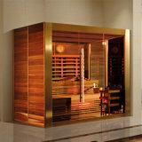 Cabine van de Sauna van de Ceder van de dollekervel de Houten/Rode met Verwarmer 3800W (K9769)