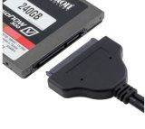 O USB 3.0 ao cabo adaptador Conversor SATA de 2,5 polegadas para unidade de disco rígido SSD HDD portátil com alimentação USB com cabo (preto)