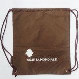 210d refroidissent le sac à dos en nylon de sac de cordon de polyester de Brown (D-705)