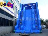 Синий гигантский надувной слайд для игровой площадки