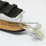 Vigilanze meccaniche di vendita di natale del regalo di marca dell'acciaio inossidabile del nero del Mens automatico caldo della manopola
