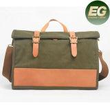 Farbe-Collsion Weinlese-Leder gewaschener Segeltuch-Handtaschen-Mann-Kurier-Beutel Ga13