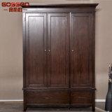 Armário de madeira de porta de parede de quarto de design simples com 3 portas (GSP17-010)