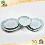 Placa de cena del crujido con el tazón de fuente en placa de cerámica del nuevo diseño de la fábrica de China