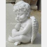 De witte Marmeren Kleine Standbeelden van de Engel van de Baby
