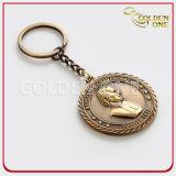 Kundenspezifisches antikes Gold überzogener Münzen-Metalschlüsselring