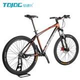 長い旅行マウンテンバイクまたは人のスポーツの自転車のオレンジ