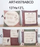 Casa Decoration-4asst. del cuscino del paese di Patchwork+Handstitched