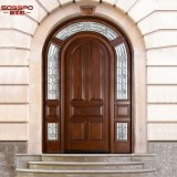 Puerta de madera exterior superior redonda de la iglesia con el travesaño (GSP1-035)