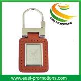 Trousseau de clés de cuir en métal de cadeau de promotion avec le logo d'estampille