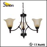 Chandelier tradicional de 6 luzes, iluminação pendente de ferro preto antigo
