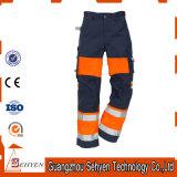Pantalon r3fléchissant orange de visibilité de travail élevé de sûreté