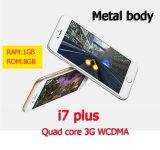 I7 plus le smartphone réel de l'androïde 6.0 3G WCDMA d'empreinte digitale du téléphone mobile Mtk6580 de la couleur 5.5-Inch de réseau 3G Large-Screen de Quarte-Faisceau réel 8g + 1g