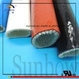Gainer enduit tressé de fibre de verre de résine de silicones de résistance d'incendie de qualité