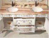 Armário de casa de banho em madeira maciça com bancada em mármore natural