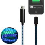 平らなデザインTPE材料LEDの標識燈USBの充電器データ同期信号ケーブル