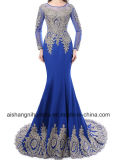 Elegante Sereia Long-Sleeved Traje formal Sexy Applique vestido de Noite