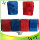 Tamanho Grande Solar Flashing Light com vermelho e azul LED