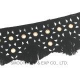 La moda Guarnecido de bordado de encaje Soluble en agua con ojetes de algodón tejido